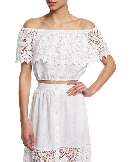 Miguelina Dakota Off-The-Shoulder Lace Crop Top