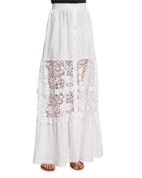 Miguelina Kimora Lace-Inset Maxi Skirt