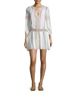 Jolene Embroidered Smocked Dress, White/Multicolor