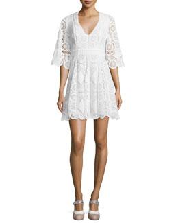 Webb 3/4-Sleeve Lace Mini Dress, White