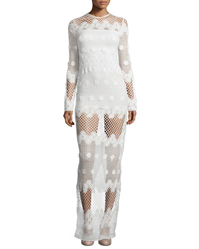 Axelle Long-Sleeve Netted Maxi Dress, White