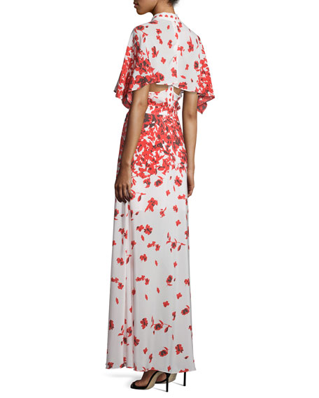 83d120400a8e Alexis Jeannie Poppy-Print Cape Maxi Dress
