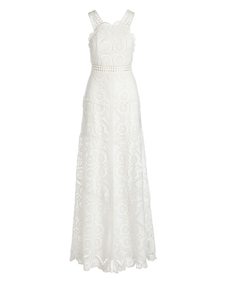 Eveline Sleeveless Lace Maxi Dress, White