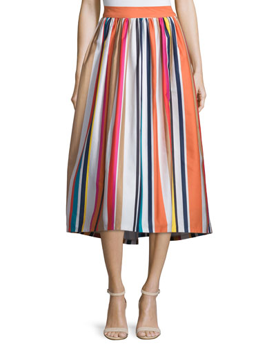 Nikola Striped High-Waist Midi Skirt, Multicolor