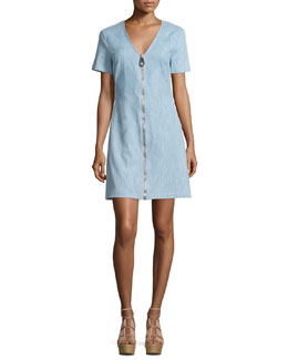 Madeline Zip-Front Chambray Shift Dress, Light Denim