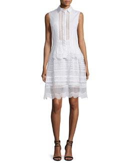 Sleeveless Ruffle-Trim Oxford Dress, White