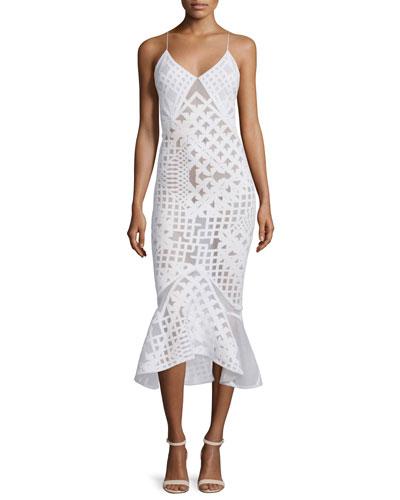 Sleeveless Bonded Burnout Midi Gown, White