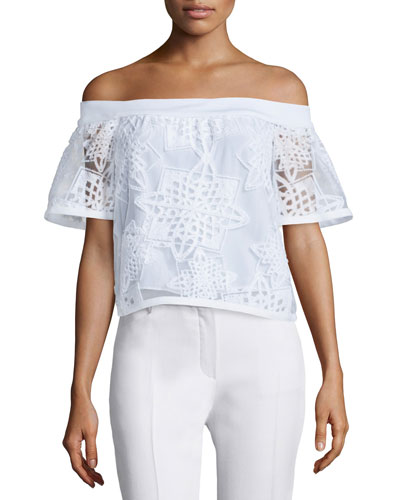 Off-the-Shoulder Geometric Burnout Top, White