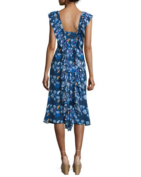 Cleo Ruffle-Trim Floral Silk Dress, Indigo/Multicolor