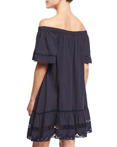 6de3abc12e2 Rebecca Taylor Off-the-Shoulder Cotton Lace-Trim Shift Dress