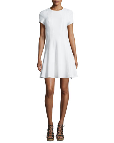 Short-Sleeve Pique Fit-and-Flare Dress, Snow