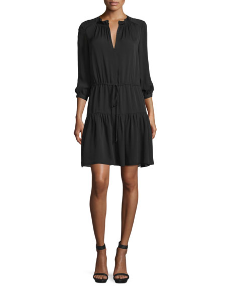 3/4-Sleeve Tiered Silk Georgette Dress, Black