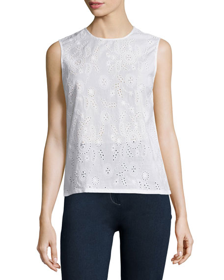 Teagan Jewel-Neck Eyelet Shell, True White