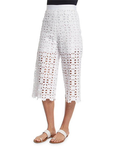 Miguelina Dana Crocheted-Lace Cropped Pants