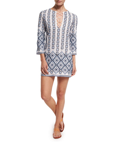 Darla Printed Cotton Coverup Dress