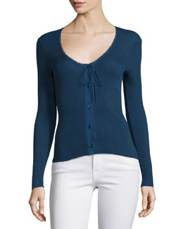 Lace Button-Front Sweater, Navy