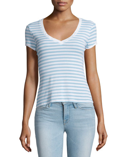 Le Button V-Neck Striped Tee, Placid Blue Stripe