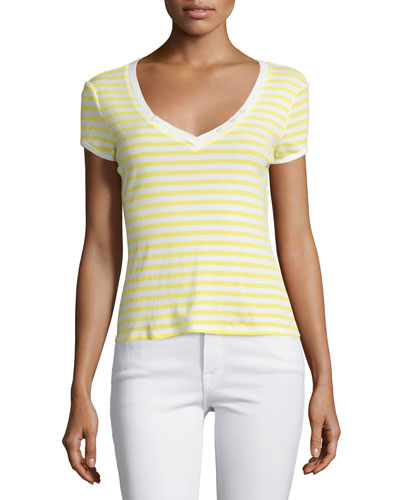 Le Button V-Neck Striped Tee, Canary