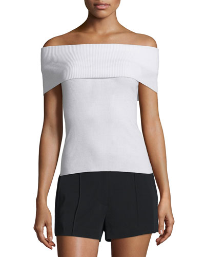 Sean Off-the-Shoulder Ribbed Merino Top, White