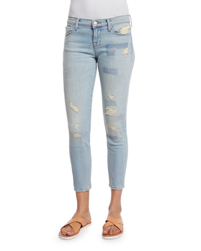 Low-Rise Cropped Jeans, Halo Destruct