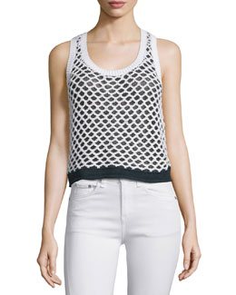 Taryn Crocheted Colorblock Tank, Black/White