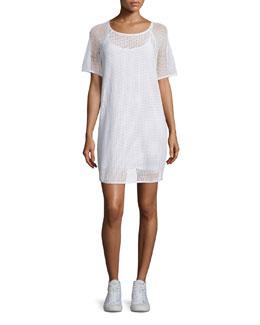 Short-Sleeve Mesh Shift Dress, White