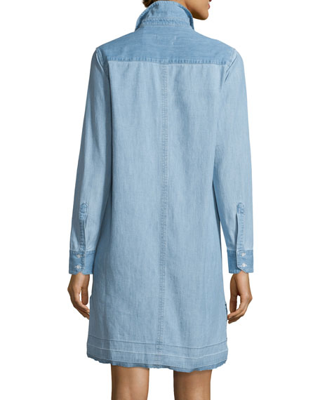 Beau Button-Front Denim Shirtdress, Kenton