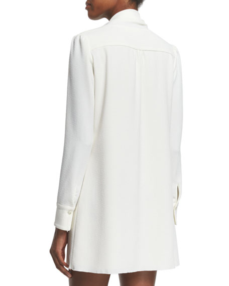 Long-Sleeve Tie-Neck Mini Dress, White
