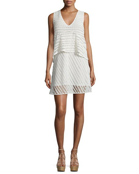 Sleeveless Sheer-Stripe Popover Dress, White