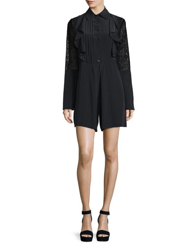Long-Sleeve Poplin Lace-Trim Romper, Black