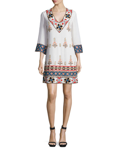 Ray Embroidered Mini Dress, Multicolor