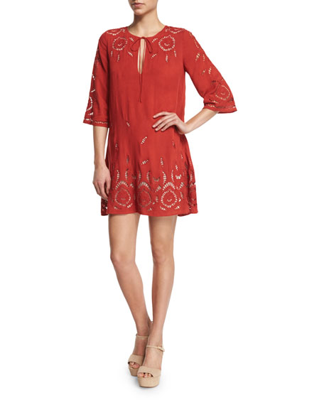 Alice + Olivia Morgana Embroidered Mini Dress, Red