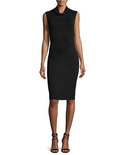 Sleeveless Turtleneck Ponte-Modal Blend Dress, Black