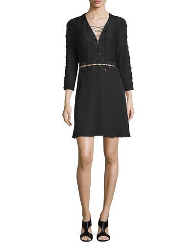 Laced 3/4-Sleeve Silk Mini Dress, Black