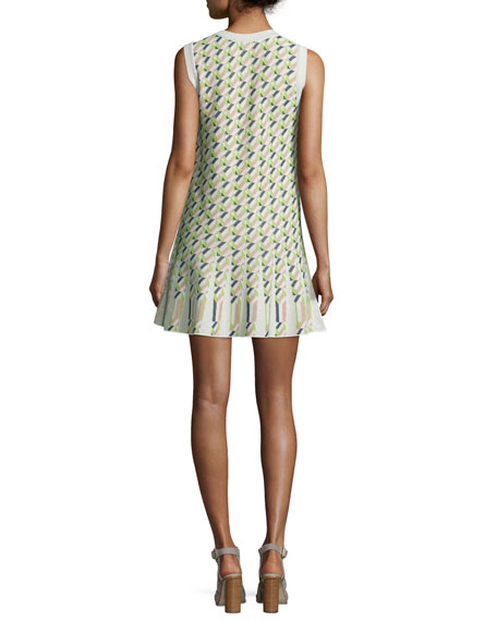 Sleeveless Geometric Jacquard Flounce Dress