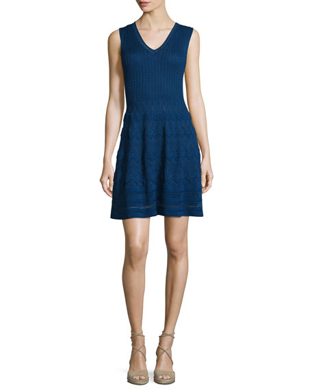 V-Neck Knit Sleeveless Dress, Marine