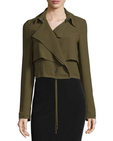 Cropped Drawstring Trench Jacket, Military