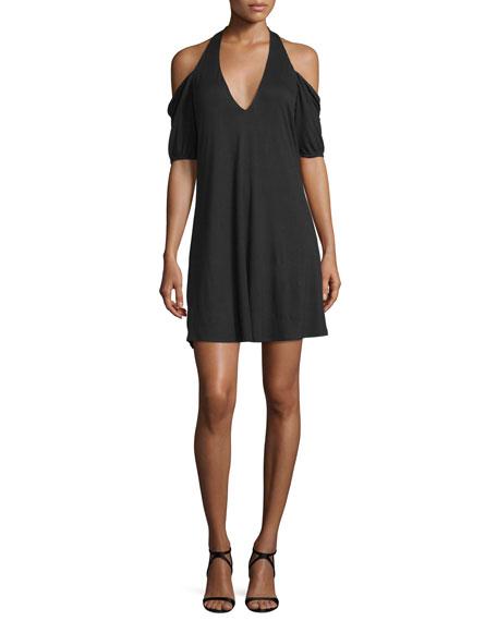 Haute Hippie Cold-Shoulder Modal Mini Dress, Black