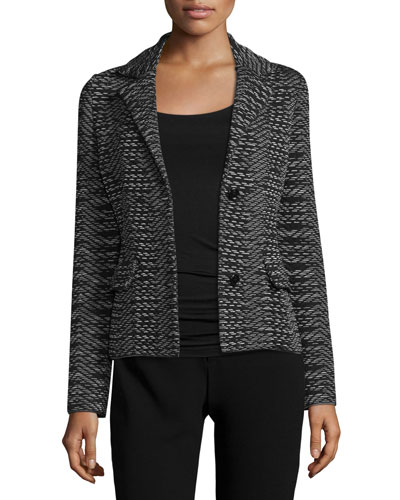Space-Dye Two-Button Blazer, Black