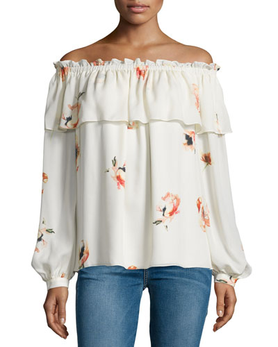 Floral Silk Off-the-Shoulder Blouse, Hounds of Love