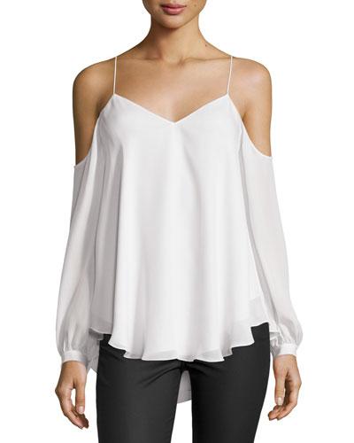 Silk Cold-Shoulder Blouse, Ivory