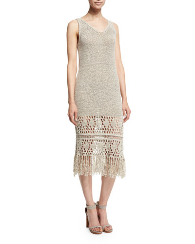 Jamila Sleeveless Fringe-Trim Dress, Light Stone