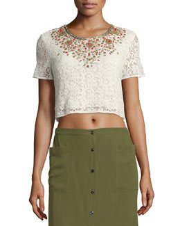 Embellished Lace Crop Top, Ivory