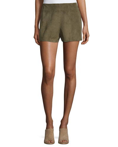 Suede High-Rise Shorts, Military