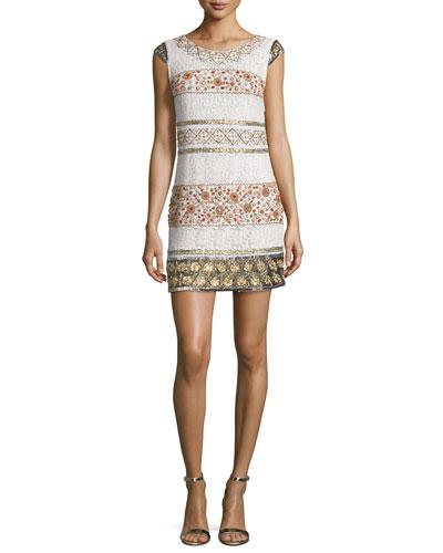 Cap-Sleeve Beaded Lace Mini Dress, Antique Ivory