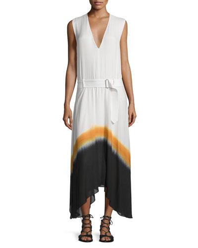 Deloro Silk Tie-Dye Maxi Dress, White/Orange/Navy