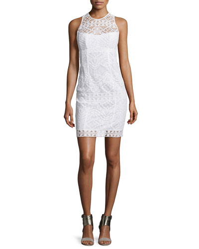 Sleeveless Lace Illusion Sheath Dress, White