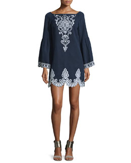 Long-Sleeve Embroidered Linen Shift Dress, Ivory/Azul