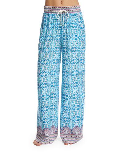 Seaside Tile Printed Coverup Pants