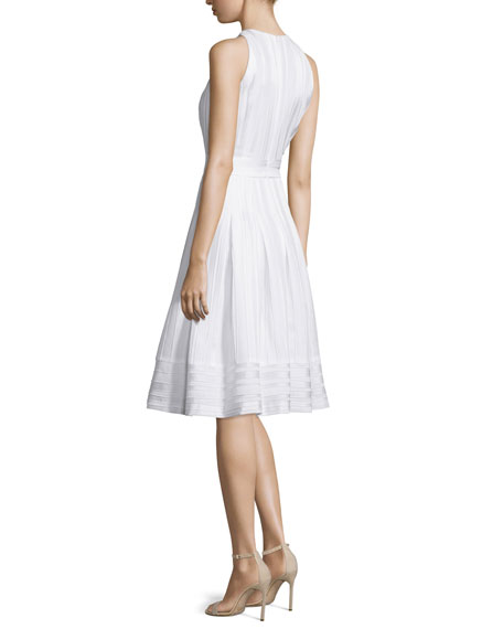 Sleeveless Pleated Fit & Flare Dress, White